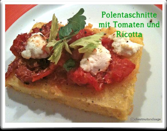 Polentaschnitten mit Tomate und Ricotta