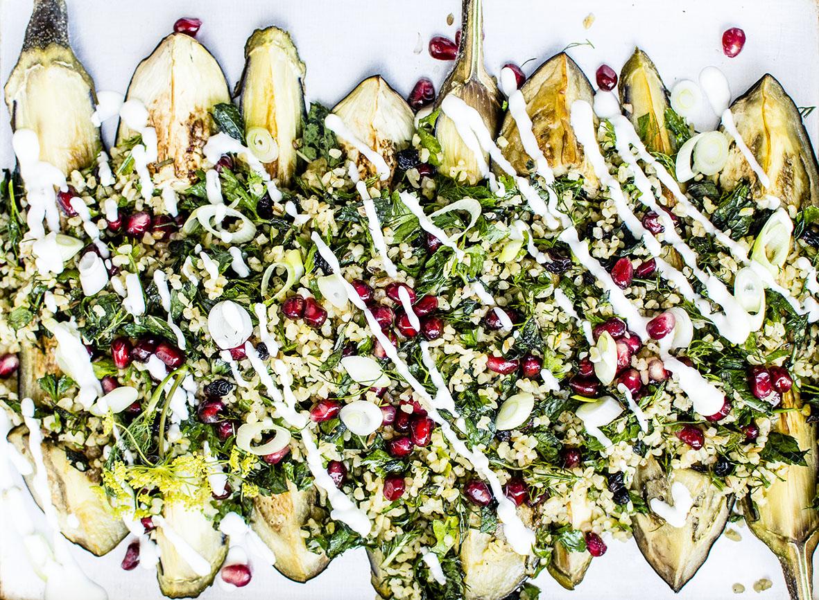 Gebratene Aubergine mit Couscous | chestnutandsage.de