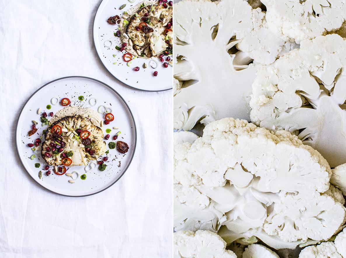 Blumenkohl-Steak mit Hummus und Zhug | chestnutandsage.de