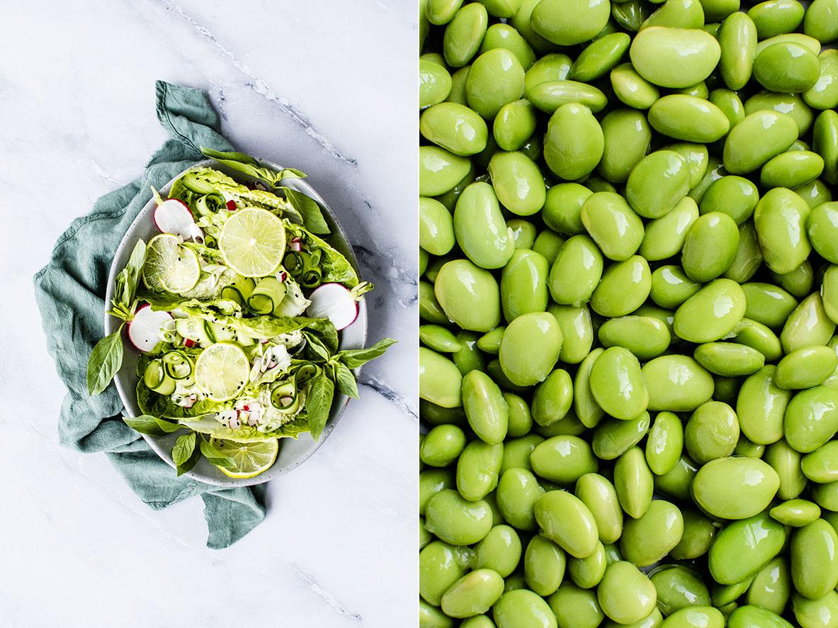 Vegane Salat-Wraps mit Edamame-Humus | chestnutandsage.de