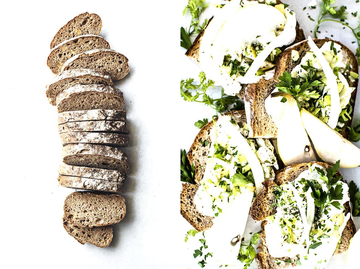 Belegtes Brot mit Birnen-Sellerie-Salat